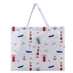 Seaside Beach Summer Wallpaper Zipper Large Tote Bag