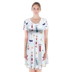 Seaside Beach Summer Wallpaper Short Sleeve V Neck Flare Dress