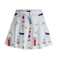 Seaside Beach Summer Wallpaper Mini Flare Skirt