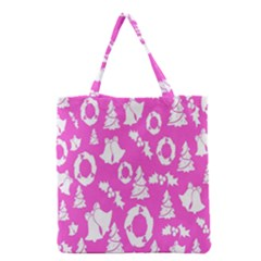 Pink Christmas Background Grocery Tote Bag