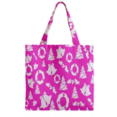 Pink Christmas Background Zipper Grocery Tote Bag