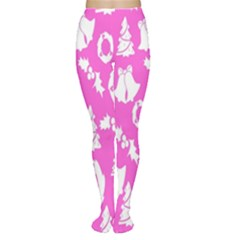 Pink Christmas Background Women s Tights