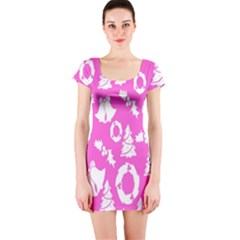 Pink Christmas Background Short Sleeve Bodycon Dress