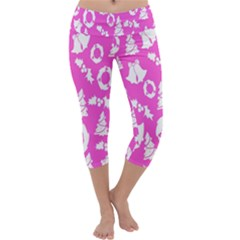 Pink Christmas Background Capri Yoga Leggings