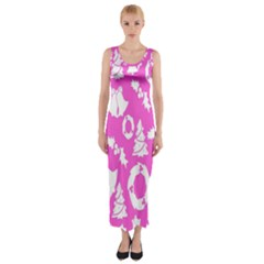 Pink Christmas Background Fitted Maxi Dress