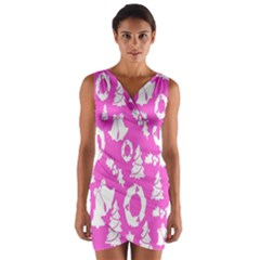 Pink Christmas Background Wrap Front Bodycon Dress