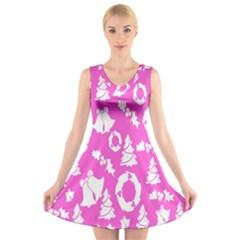 Pink Christmas Background V Neck Sleeveless Skater Dress