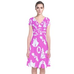 Pink Christmas Background Short Sleeve Front Wrap Dress