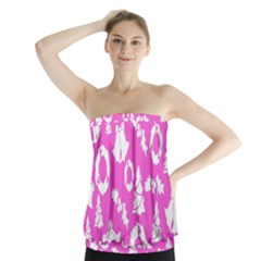 Pink Christmas Background Strapless Top