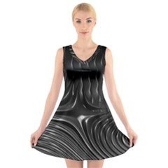 Fractal Mathematics Abstract V Neck Sleeveless Skater Dress