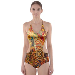 Ethnic Pattern Cut-Out One Piece Swimsuit