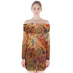 Ethnic Pattern Long Sleeve Off Shoulder Dress