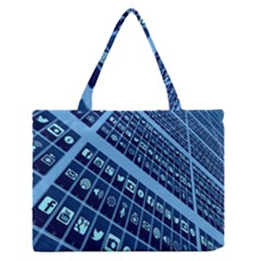 Mobile Phone Smartphone App Medium Zipper Tote Bag