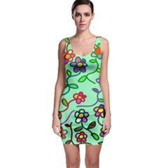 Flowers Floral Doodle Plants Sleeveless Bodycon Dress