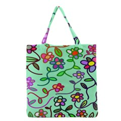 Flowers Floral Doodle Plants Grocery Tote Bag