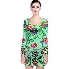 Flowers Floral Doodle Plants Long Sleeve Bodycon Dress