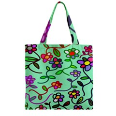Flowers Floral Doodle Plants Zipper Grocery Tote Bag