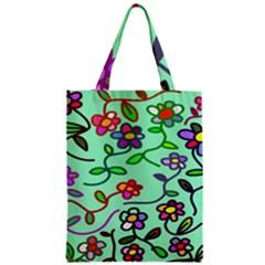 Flowers Floral Doodle Plants Zipper Classic Tote Bag