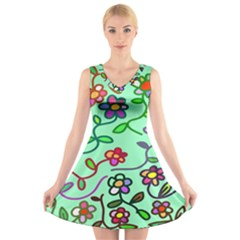 Flowers Floral Doodle Plants V Neck Sleeveless Skater Dress
