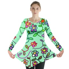 Flowers Floral Doodle Plants Long Sleeve Tunic