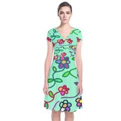 Flowers Floral Doodle Plants Short Sleeve Front Wrap Dress