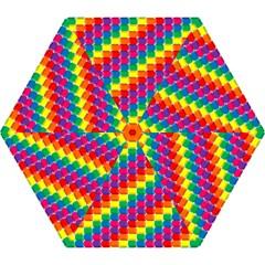Rainbow 3d Cubes Red Orange Mini Folding Umbrellas