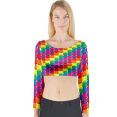 Rainbow 3d Cubes Red Orange Long Sleeve Crop Top