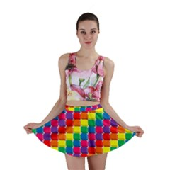 Rainbow 3d Cubes Red Orange Mini Skirt