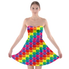 Rainbow 3d Cubes Red Orange Strapless Bra Top Dress