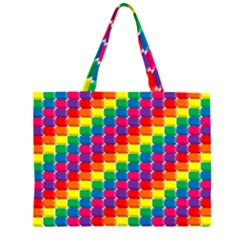 Rainbow 3d Cubes Red Orange Large Tote Bag