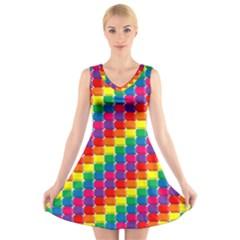 Rainbow 3d Cubes Red Orange V Neck Sleeveless Skater Dress