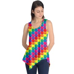 Rainbow 3d Cubes Red Orange Sleeveless Tunic