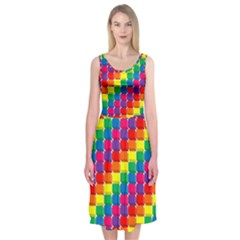 Rainbow 3d Cubes Red Orange Midi Sleeveless Dress