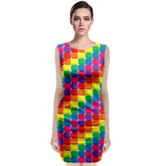 Rainbow 3d Cubes Red Orange Classic Sleeveless Midi Dress