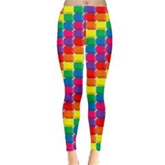 Rainbow 3d Cubes Red Orange Leggings