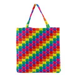 Rainbow 3d Cubes Red Orange Grocery Tote Bag