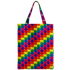 Rainbow 3d Cubes Red Orange Zipper Classic Tote Bag