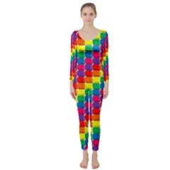 Rainbow 3d Cubes Red Orange Long Sleeve Catsuit