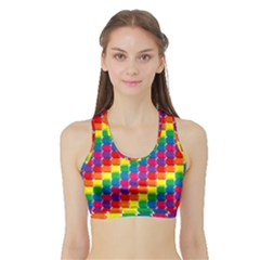 Rainbow 3d Cubes Red Orange Sports Bra with Border