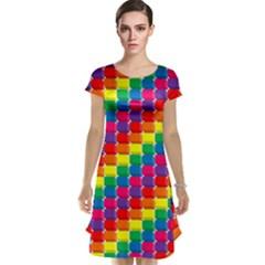 Rainbow 3d Cubes Red Orange Cap Sleeve Nightdress