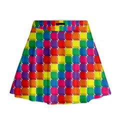 Rainbow 3d Cubes Red Orange Mini Flare Skirt