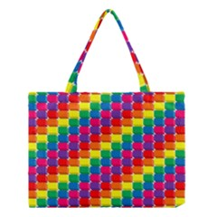 Rainbow 3d Cubes Red Orange Medium Tote Bag