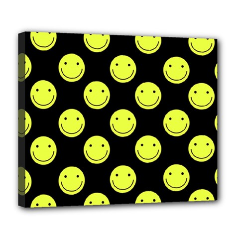 Happy Face Pattern Deluxe Canvas 24  x 20