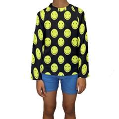 Happy Face Pattern Kids  Long Sleeve Swimwear