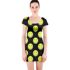 Happy Face Pattern Short Sleeve Bodycon Dress