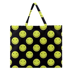 Happy Face Pattern Zipper Large Tote Bag
