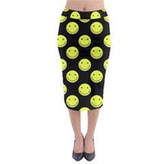 Happy Face Pattern Midi Pencil Skirt