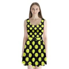 Happy Face Pattern Split Back Mini Dress