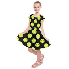 Happy Face Pattern Kids  Short Sleeve Dress