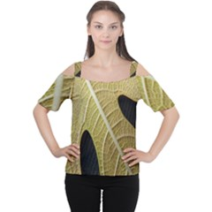 Yellow Leaf Fig Tree Texture Women s Cutout Shoulder Tee